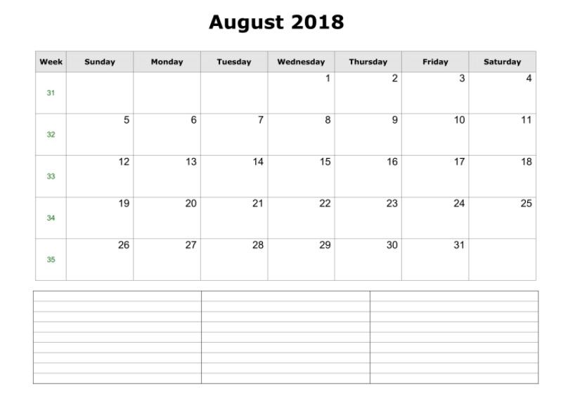 August 2018 Blank Calendar Landscape Template