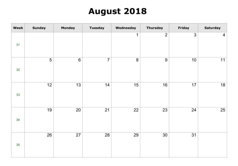 August 2018 Blank Calendar Landscape