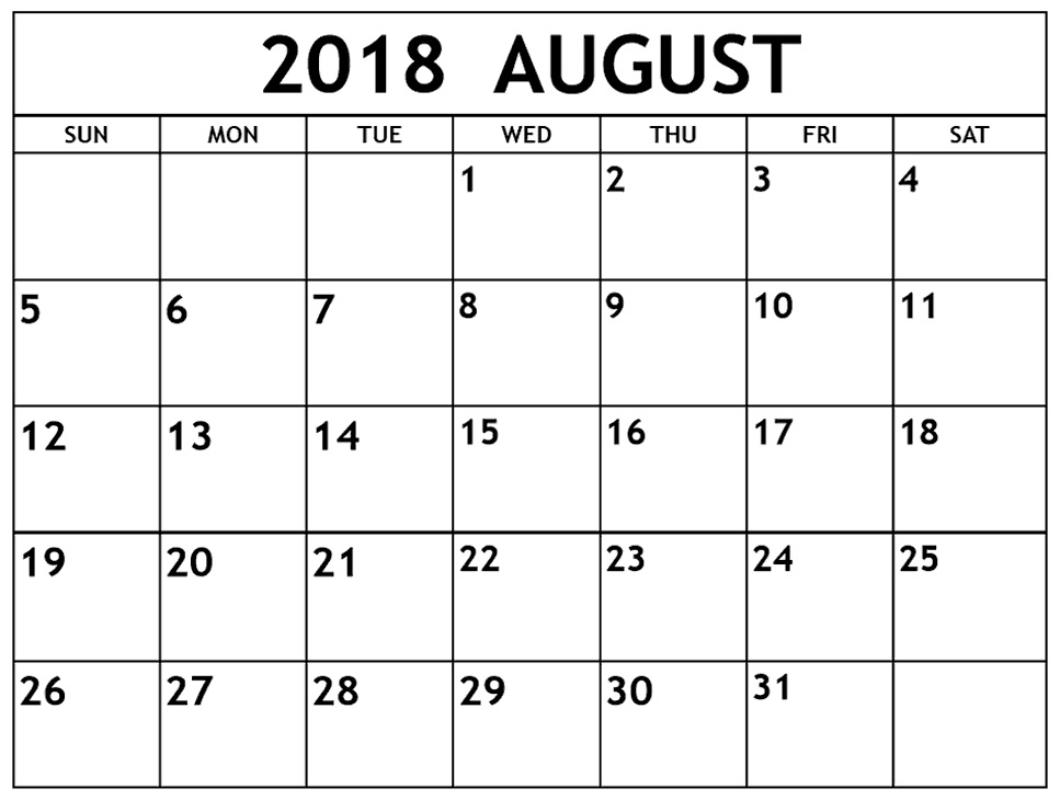 August 2018 Blank Holidays Calendar