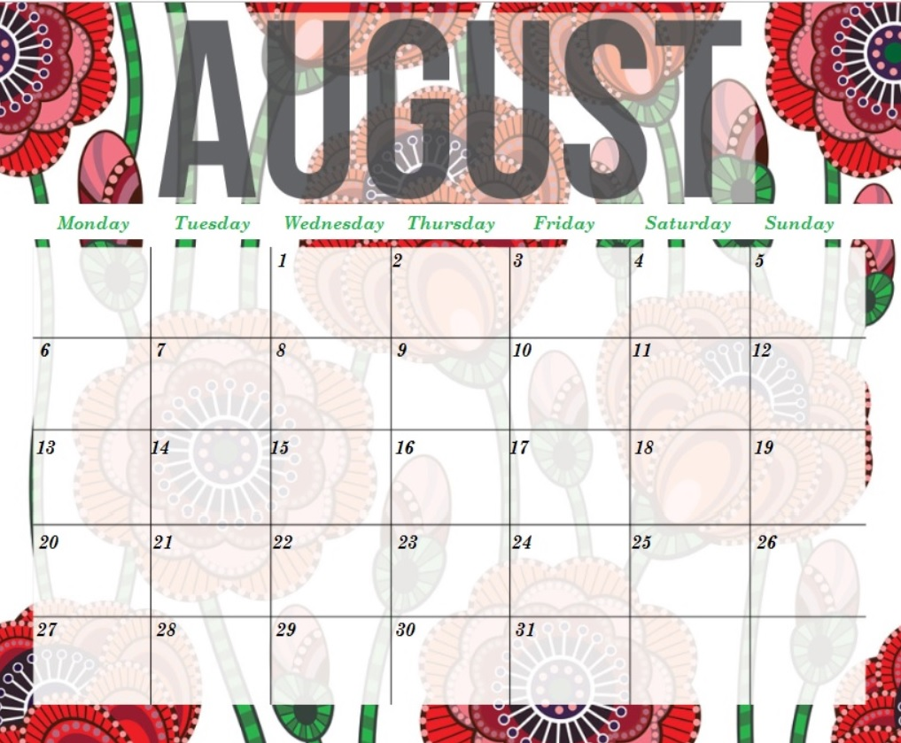 August 2018 Calendar Designs Editable