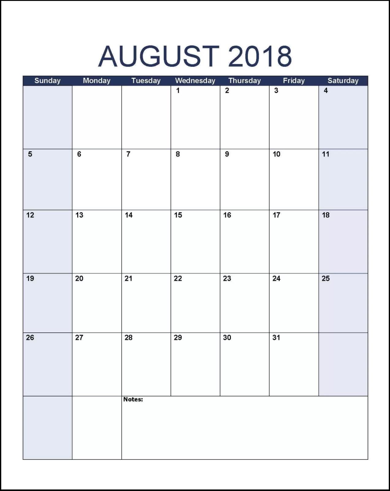 August 2018 Calendar Planner