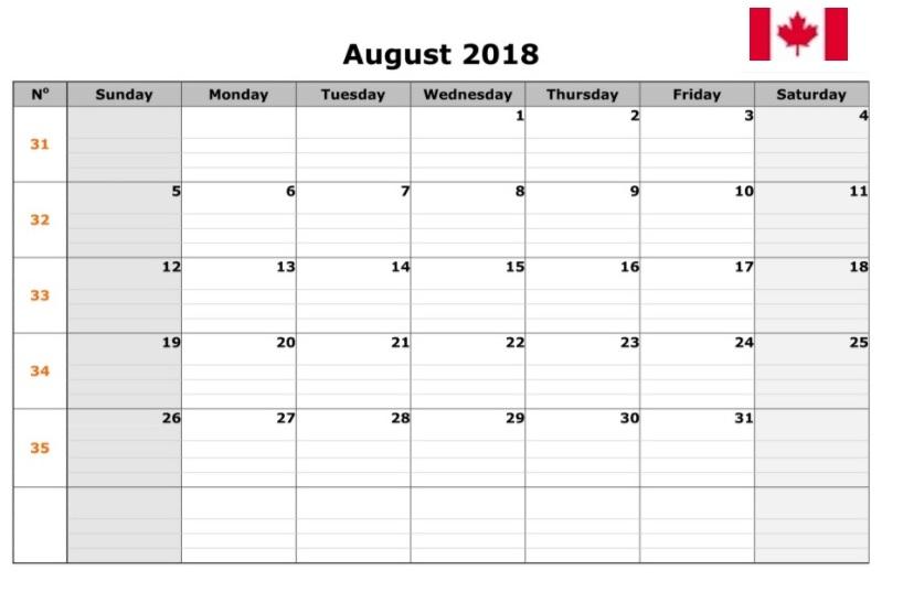 August 2018 Canada Holidays Calendar