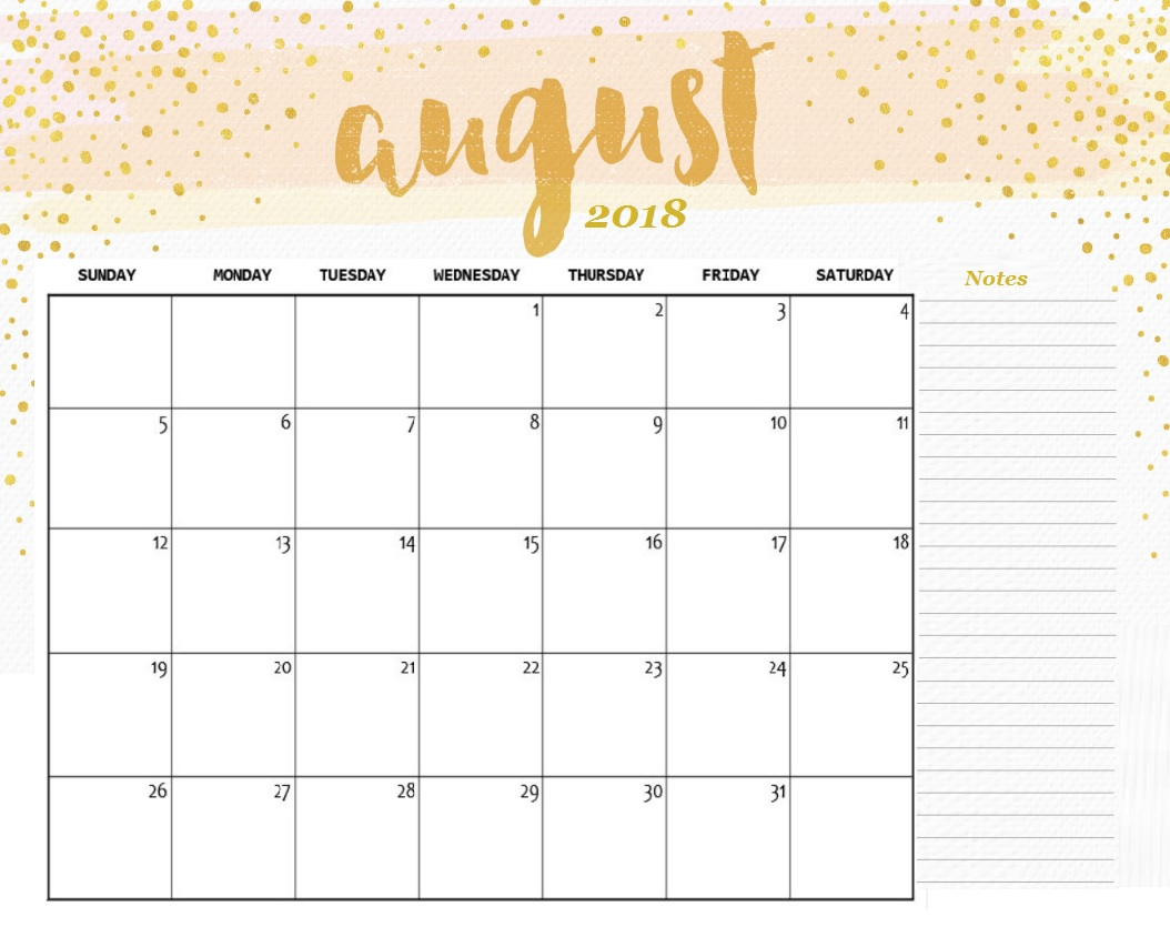August 2018 Desk Calendar Planner