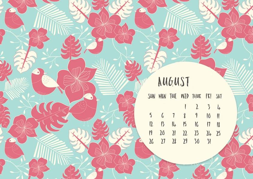 August 2018 Desktop Calendar Design