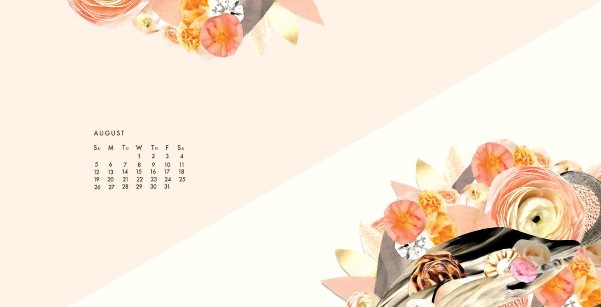 August 2018 Desktop Calendar For Background