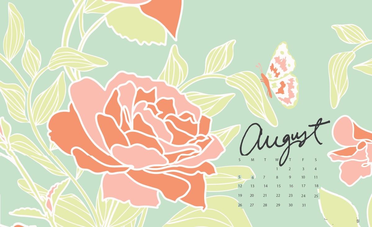 August 2018 Desktop Calendar Wallpaper