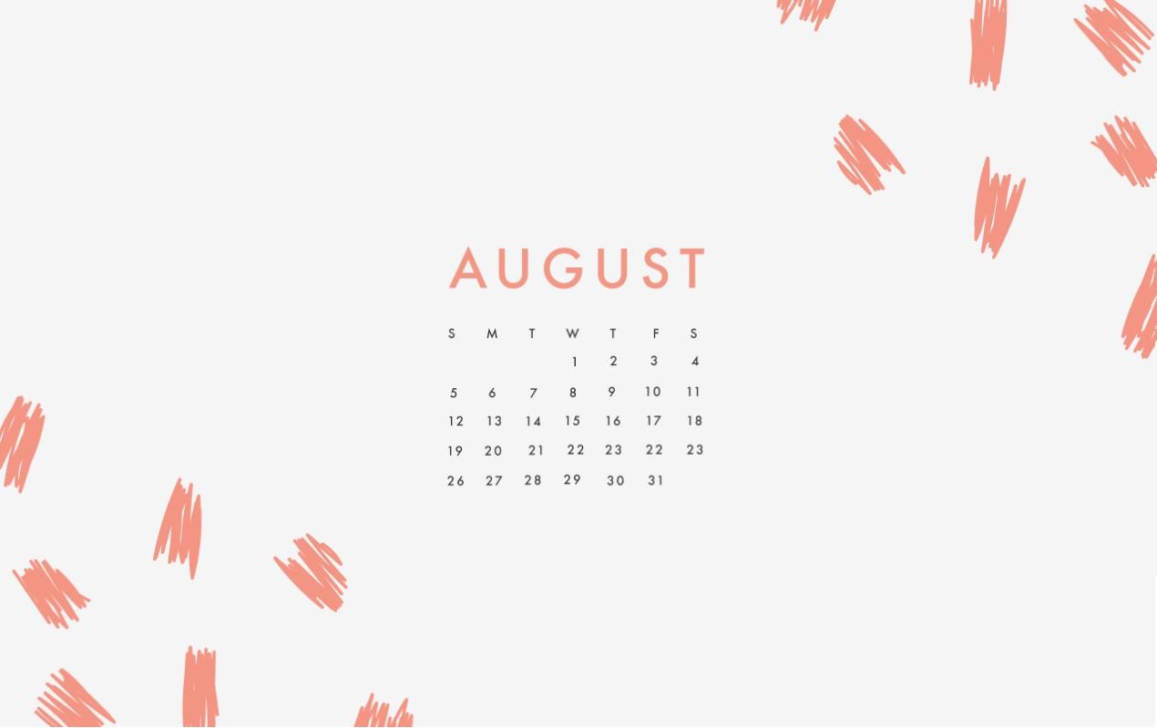 August 2018 Desktop HD Calendar