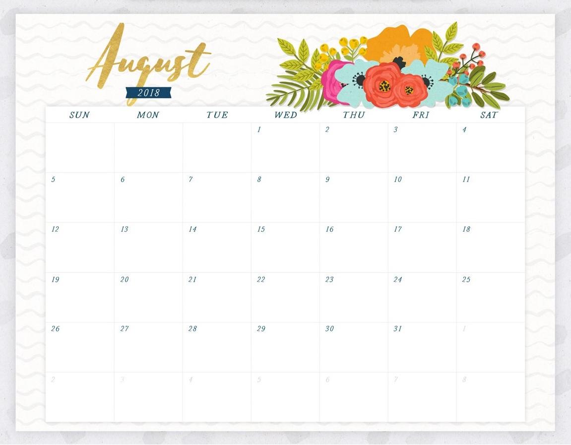 August 2018 Flowers Calendar Editable