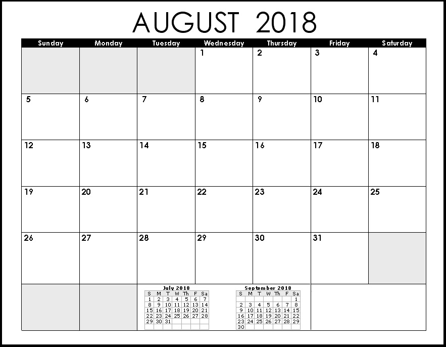 August 2018 Holidays Calendar Download