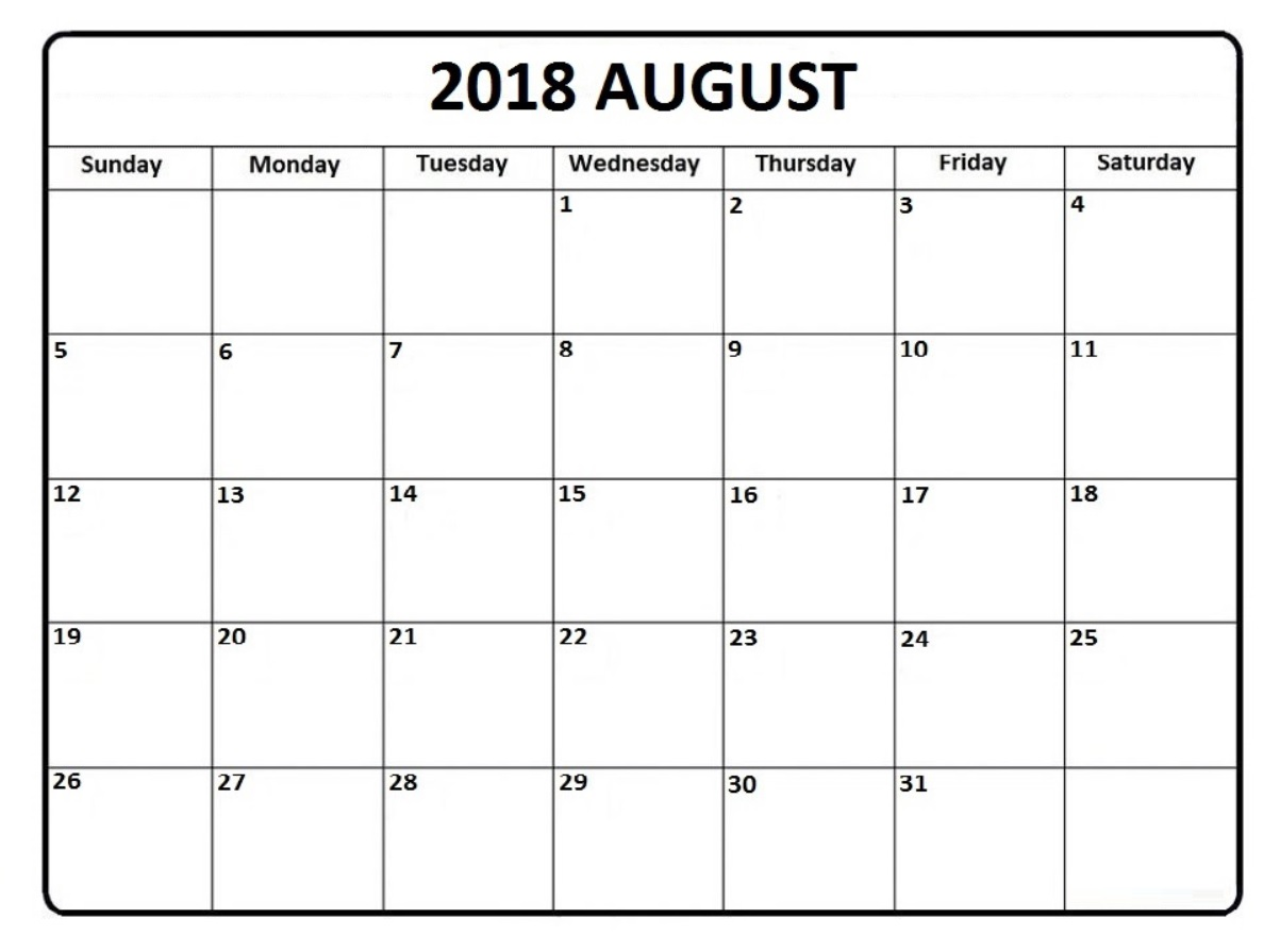 August 2018 Holidays Calendar Editable