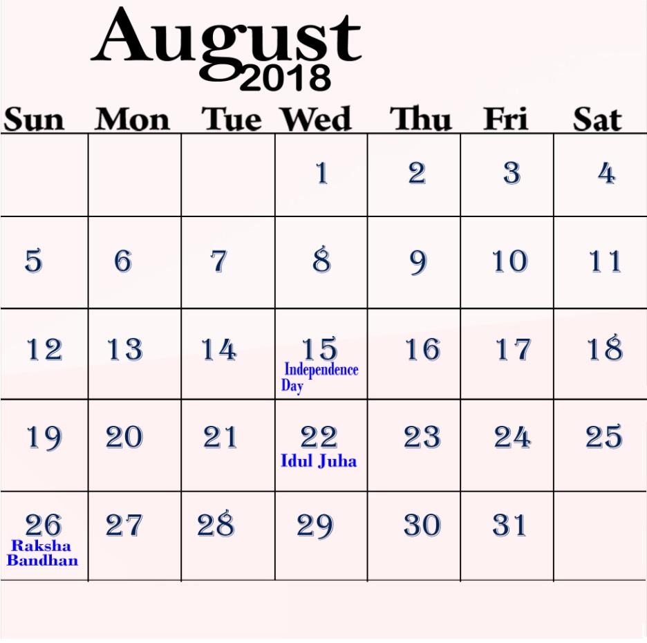 August 2018 Holidays Calendar Organizer