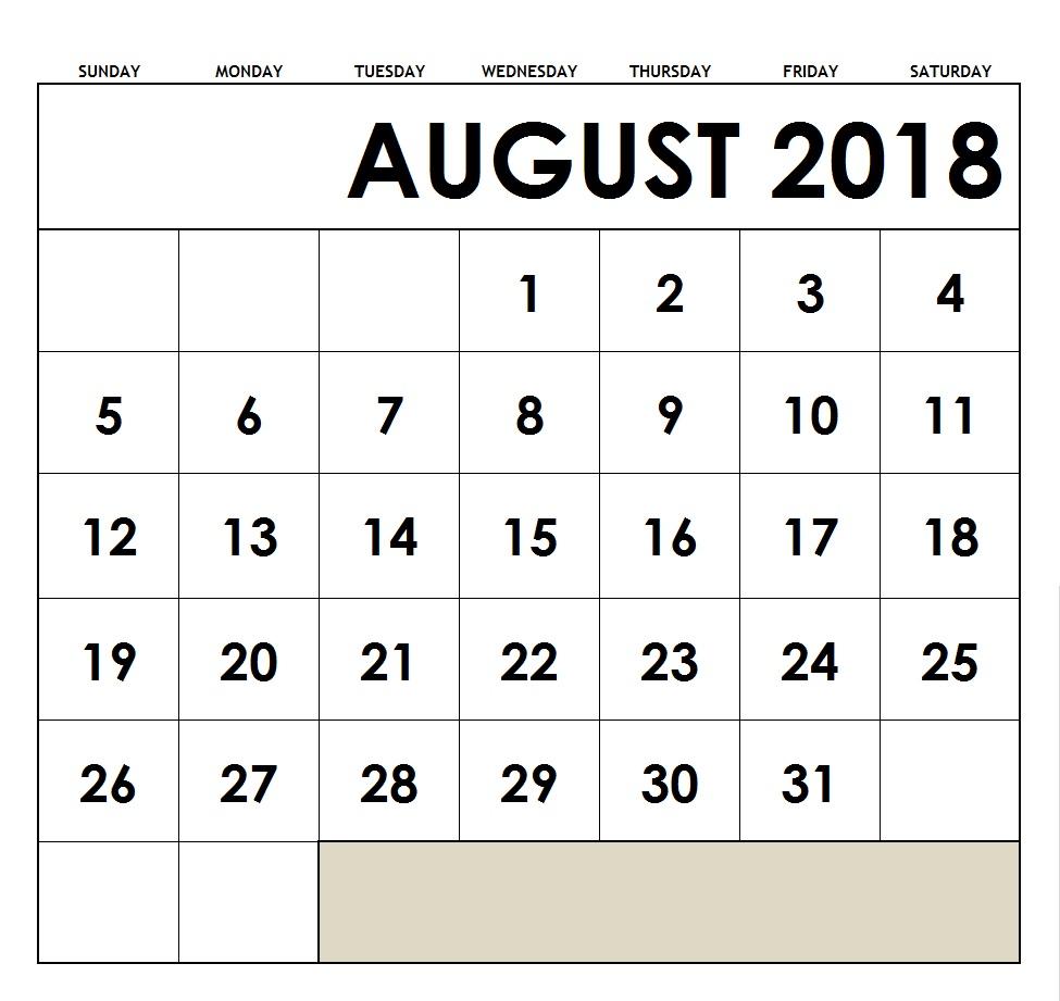 August 2018 Holidays Calendar Planner