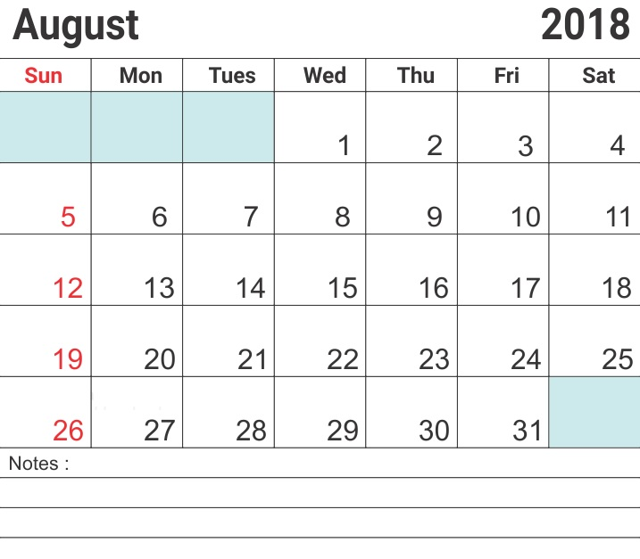 August 2018 Holidays Calendar with Adding Notes