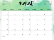 August 2018 Monthly Calendar Editable