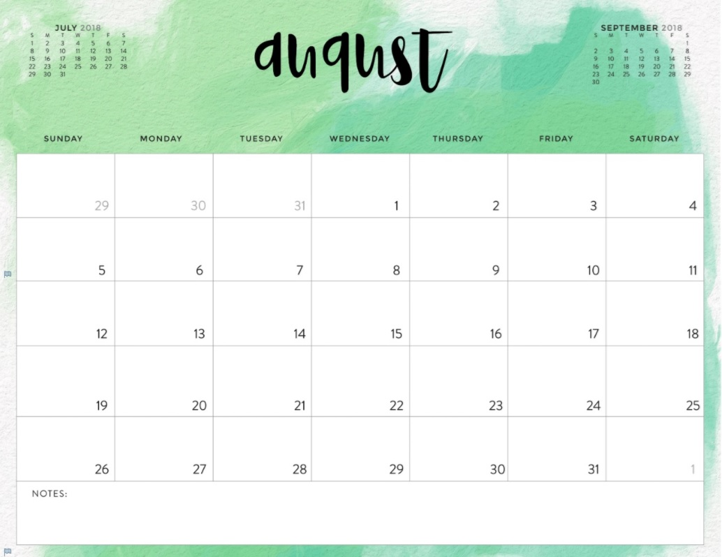 August 2018 Monthly Calendar Editable