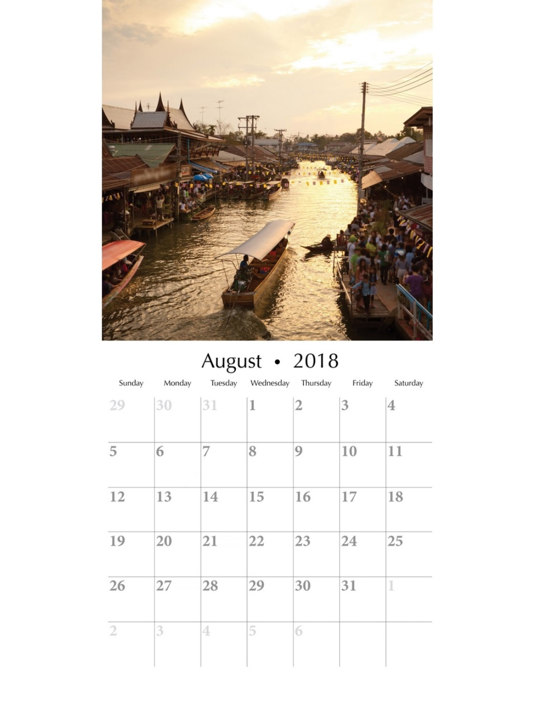 August 2018 Personalized Calendar Editable