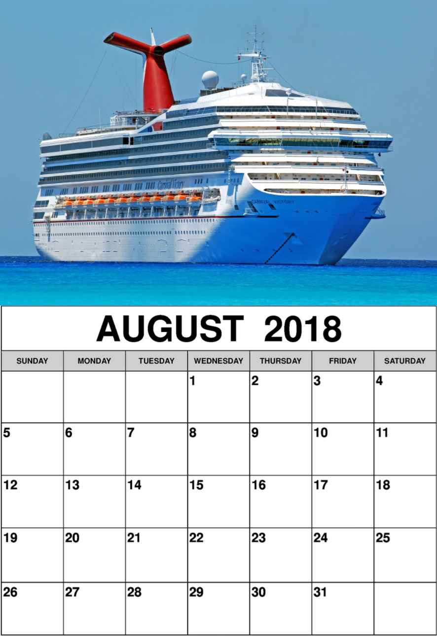 August 2018 Personalized Calendar Templates
