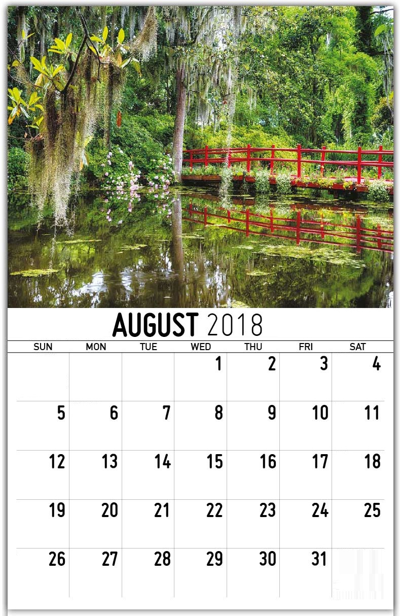 August 2018 Personalized Wall Calendar
