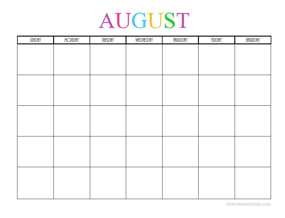 August 2018 Printable Planner