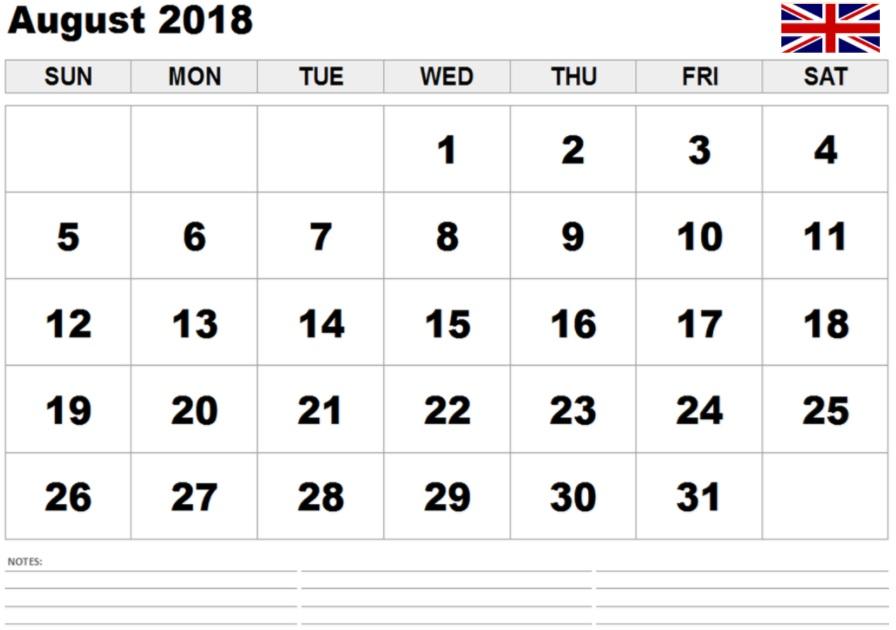 August 2018 UK Calendar Blank