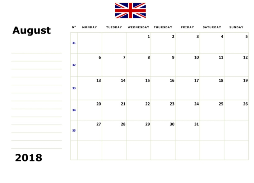 August 2018 UK Calendar Holidays