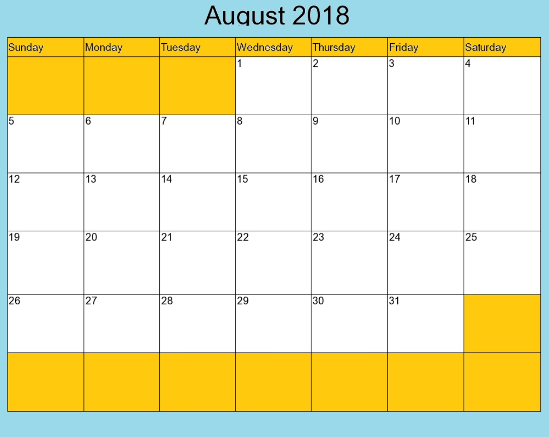 August 2018 USA Calendar