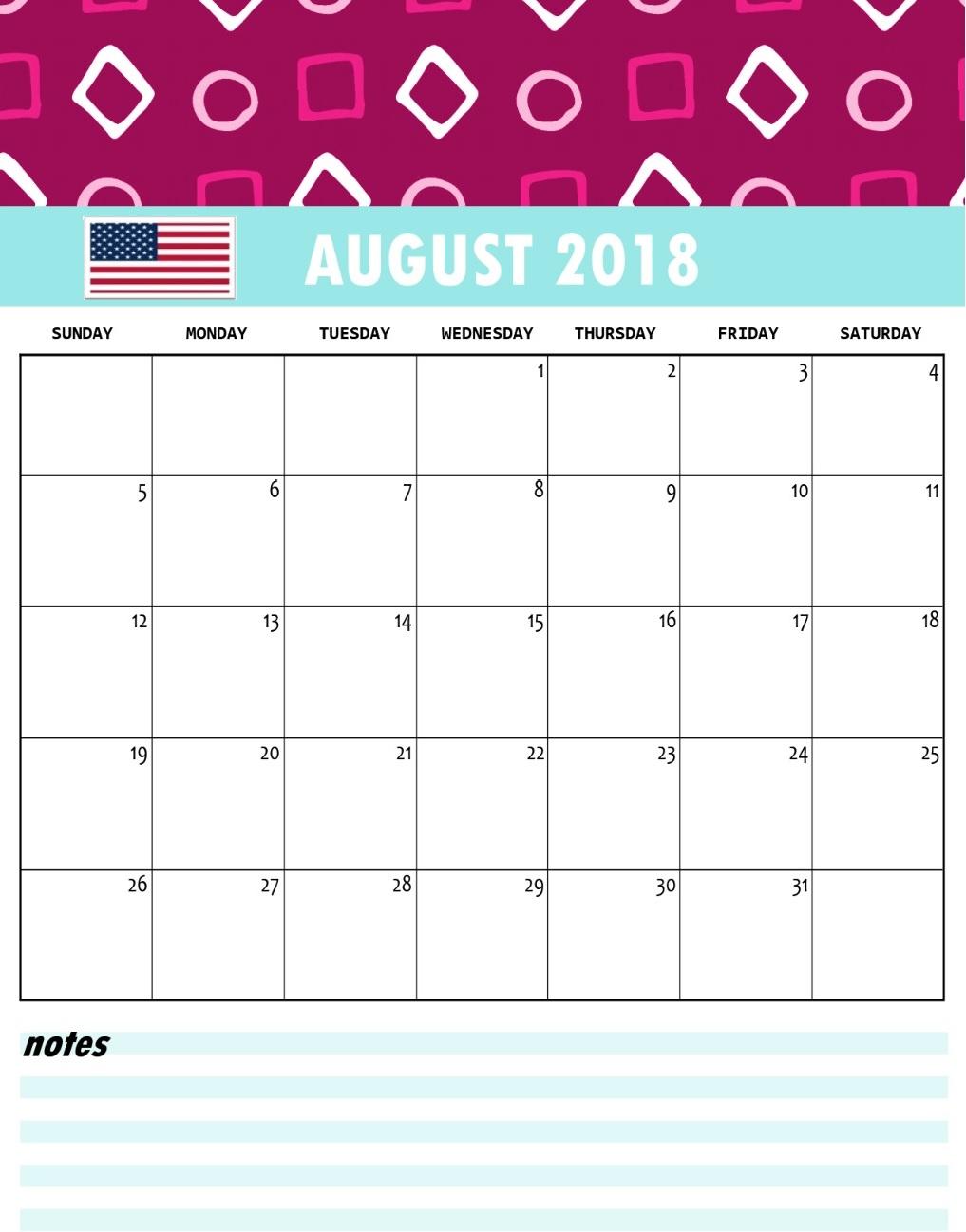 August 2018 USA Holidays Calendar