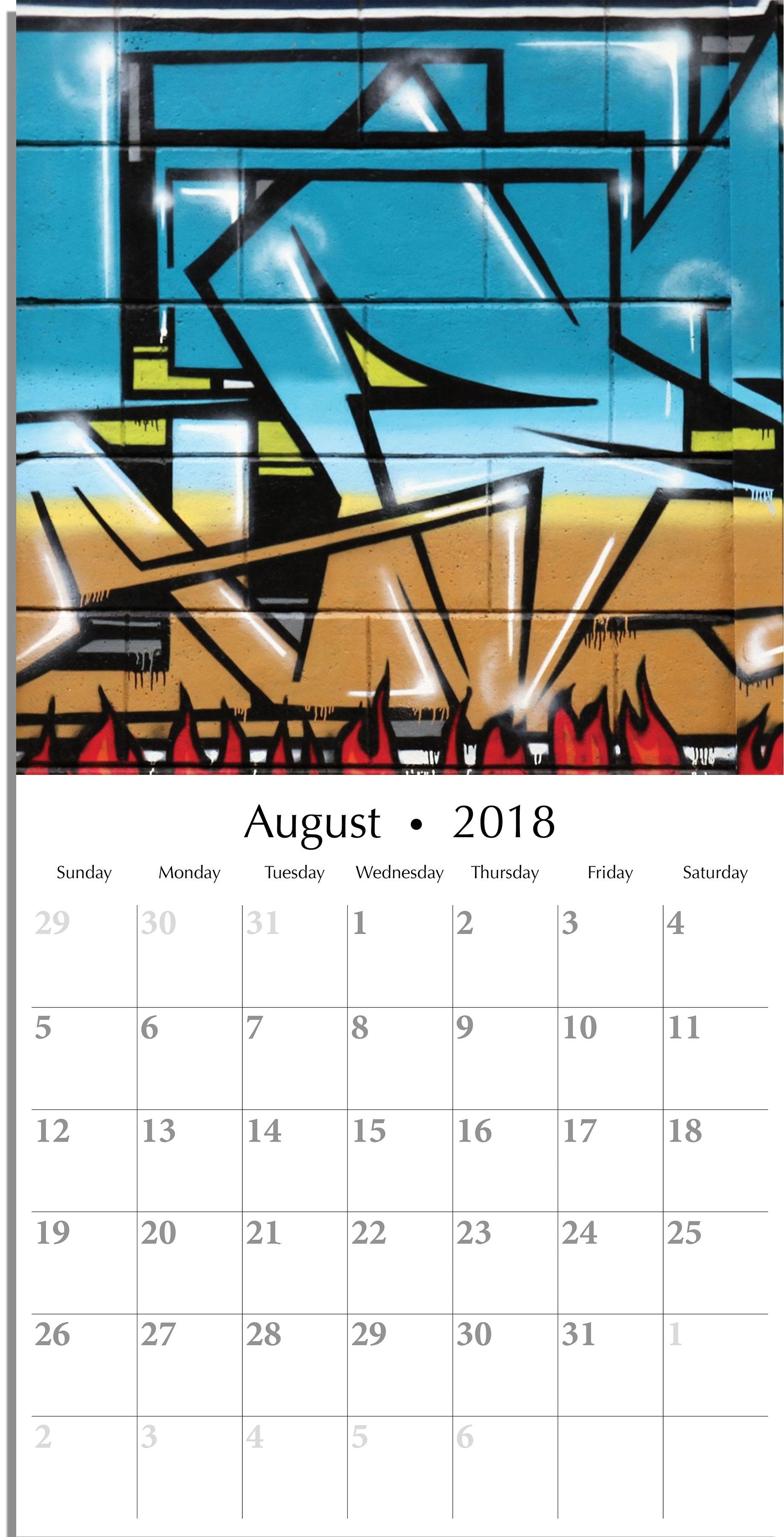 August 2018 Wall Calendar Planner