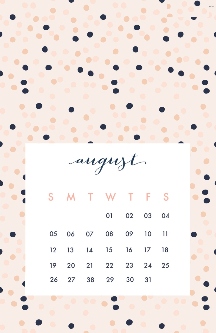 August 2018 iPhone Calendar Design