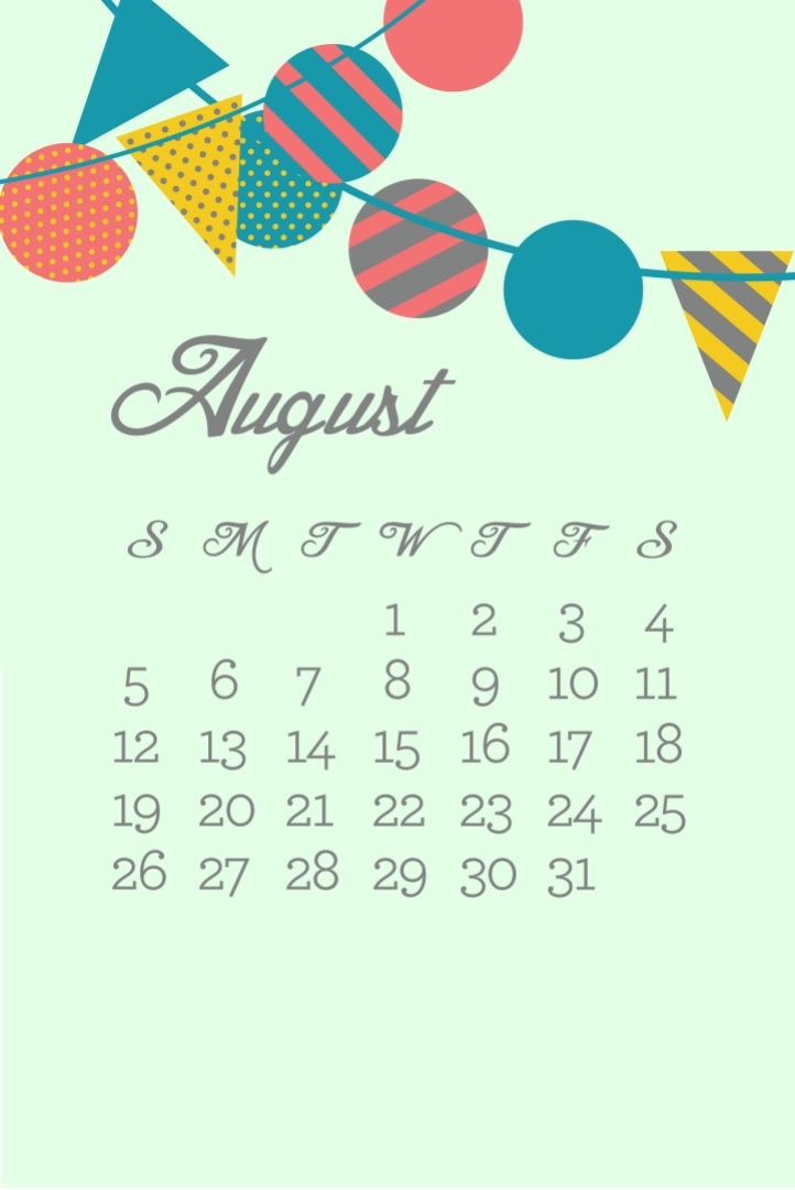 August 2018 iPhone Calendar Images