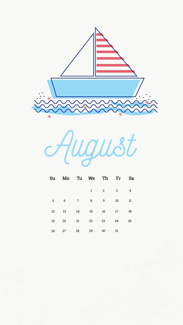 August 2018 iPhone Calendar Wallpapers