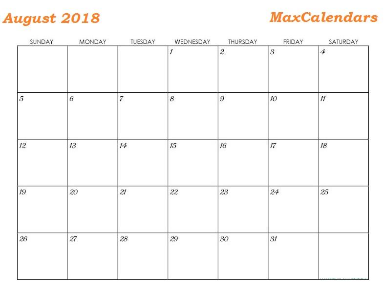 August Month 2018 Year Calendar