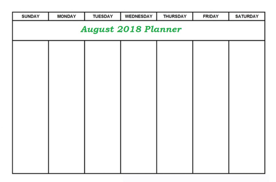 August Weekly 2018 Planner