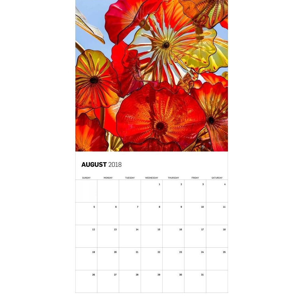 Beautiful August 2018 Wall Calendar