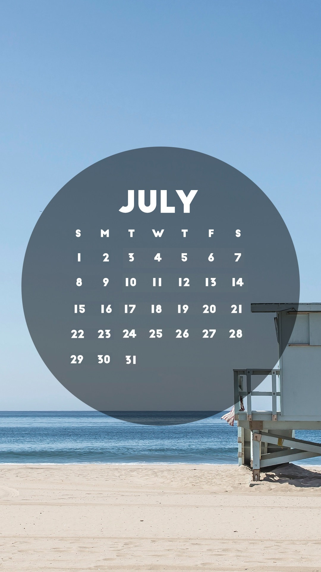 Beautiful July 2018 iPhone Calendar Wallpapers