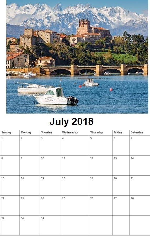 Beautiful Personalized July 2018 Calendar