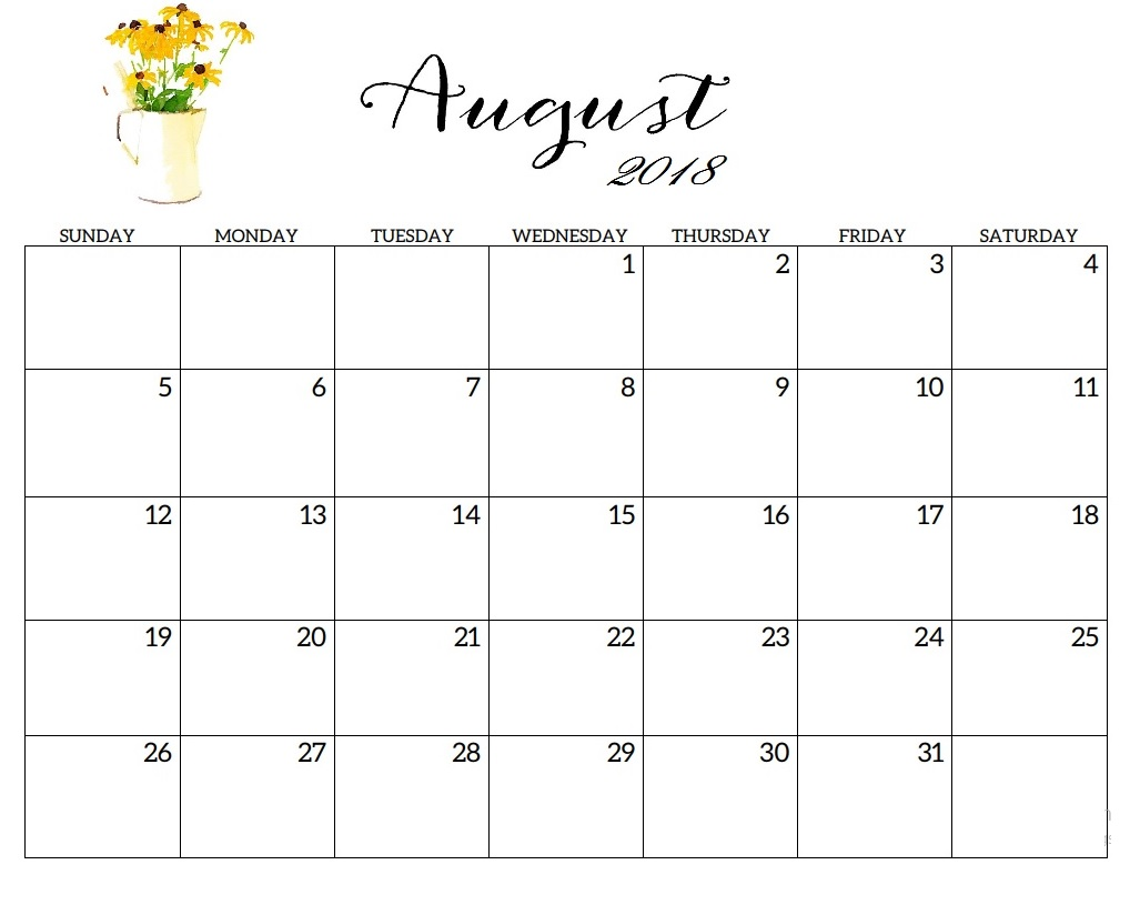 Beautiful Printable August 2018 Calendar