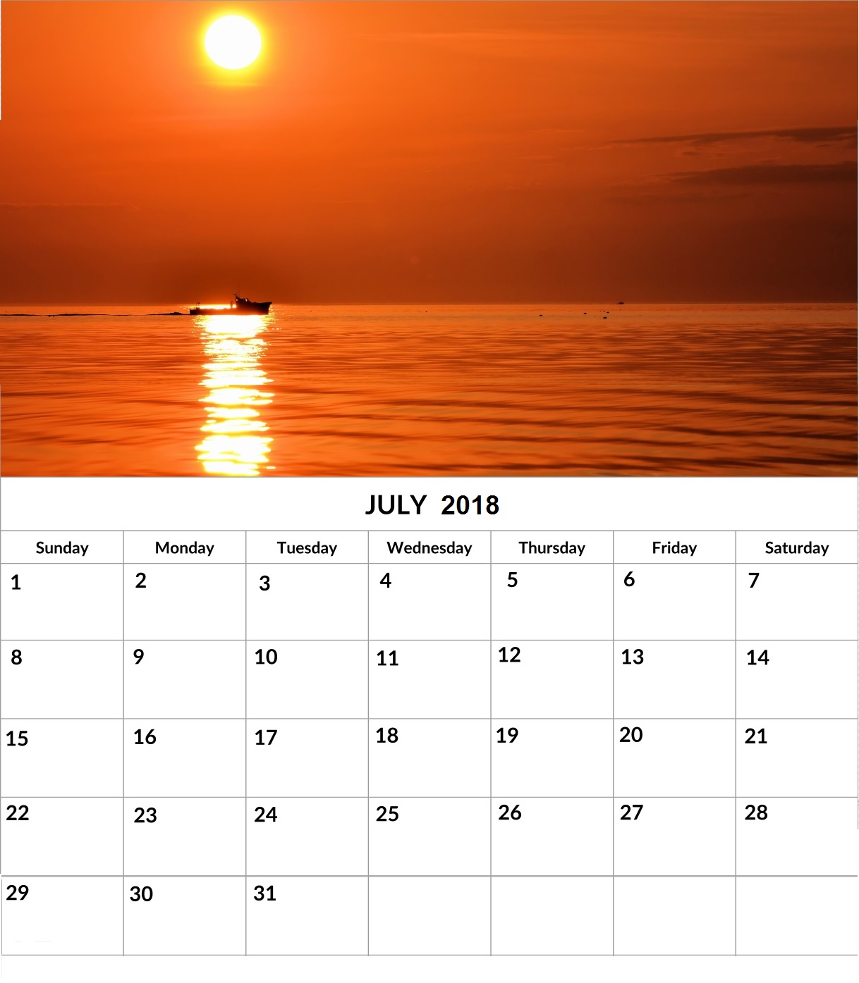 Beautiful Printable July 2018 Wall Calendar