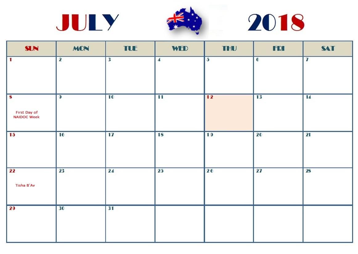Best July 2018 Australia Holiday Calendar