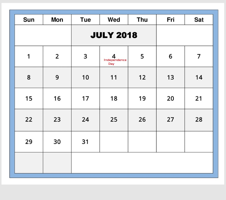 Best July 2018 Holiday Calendar For USA