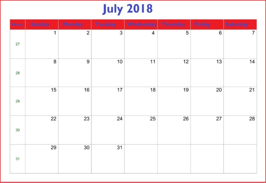 Best July 2018 Waterproof Calendar