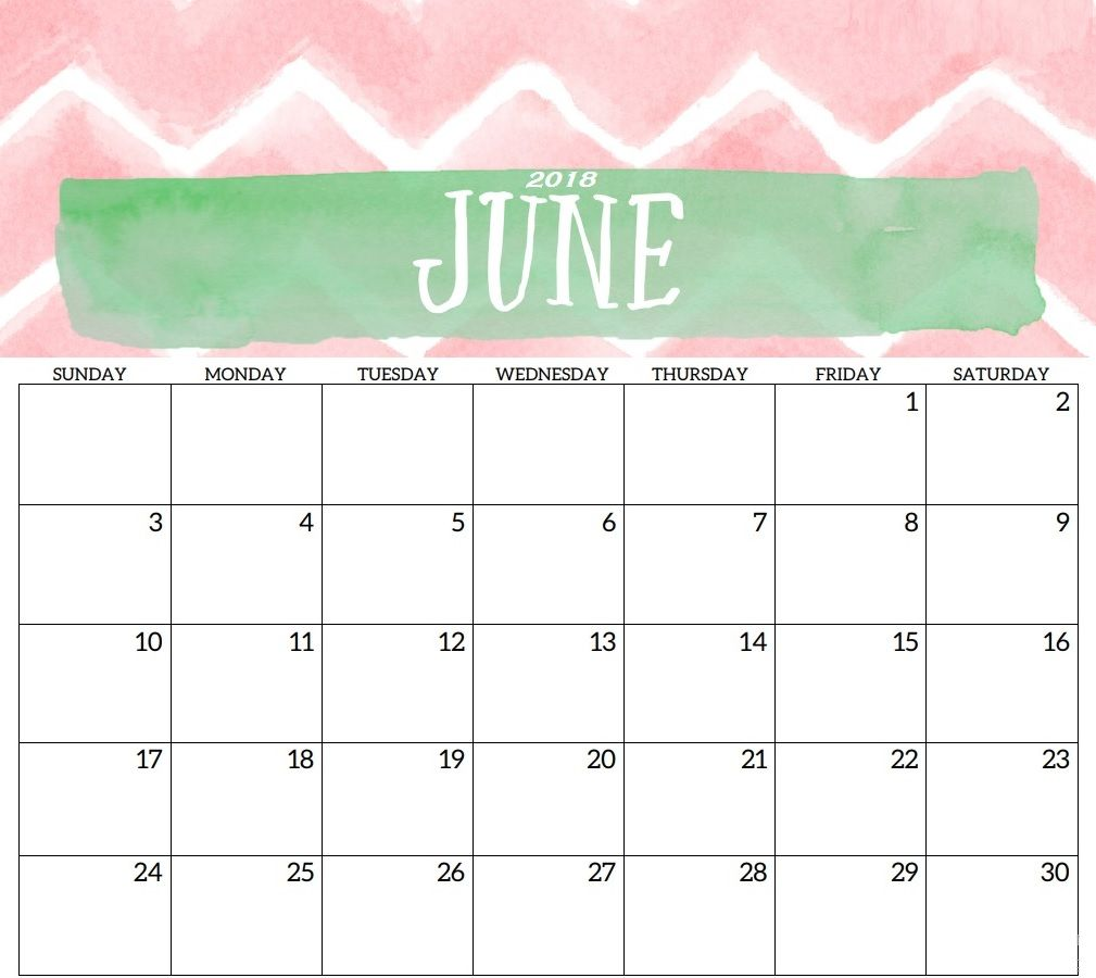 Best June 2018 HD Calendar Template