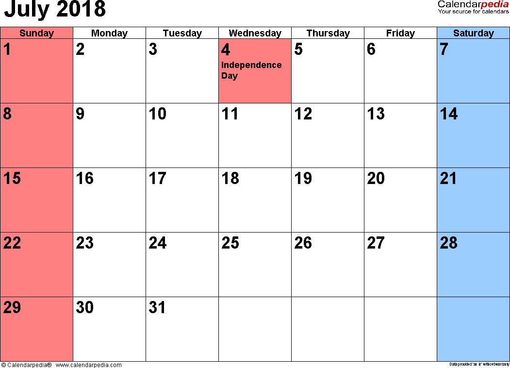 Blank Calendar For July 2018 Printable