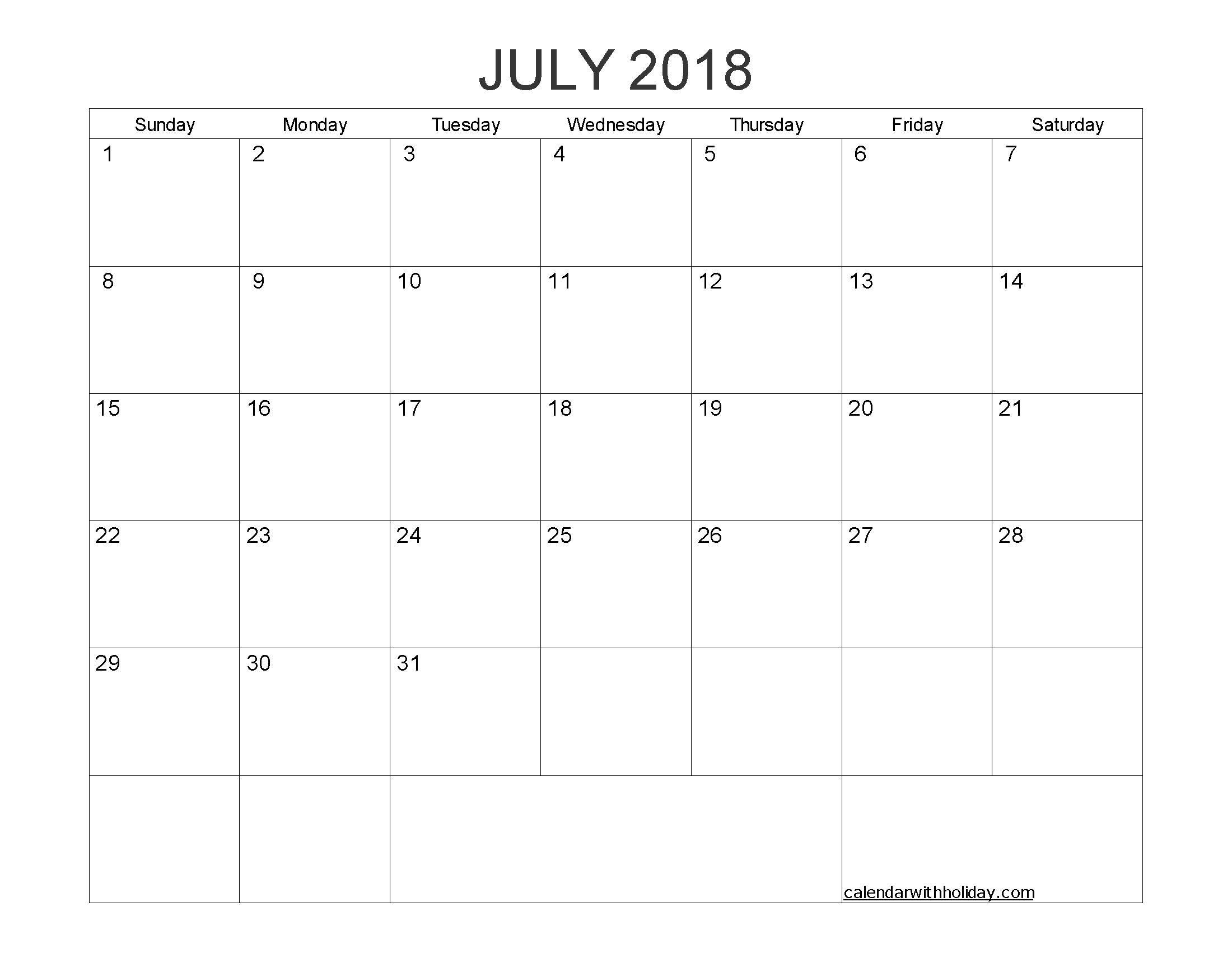 Blank Calendar Template 2018 July
