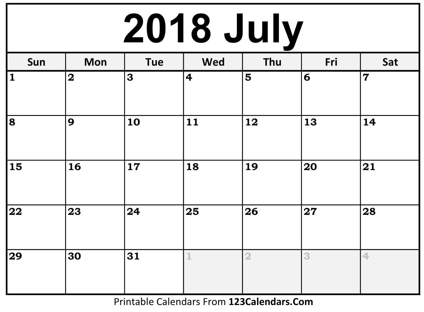 Blank July 2018 Calendar Free