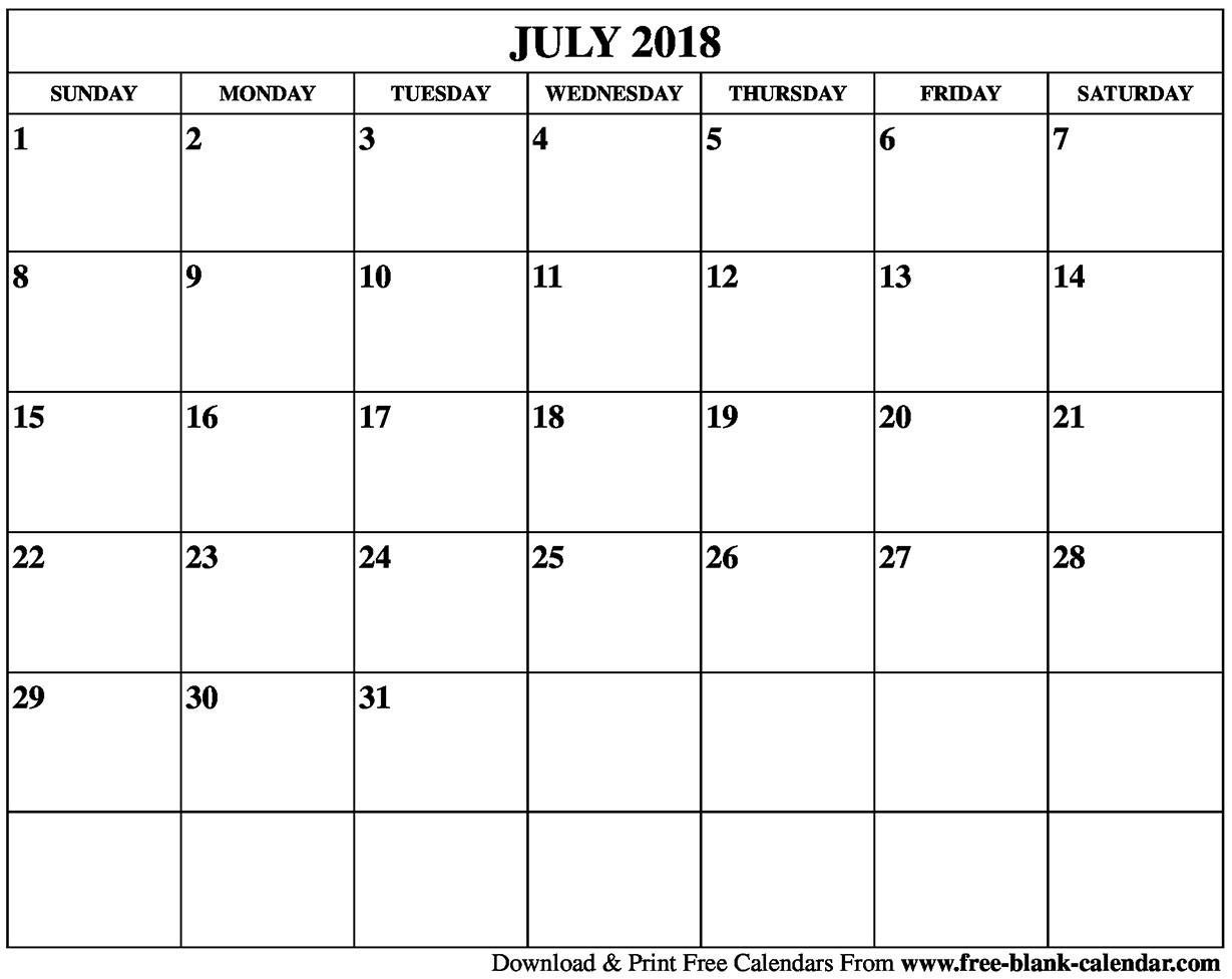 Blank July 2018 Calendar Template