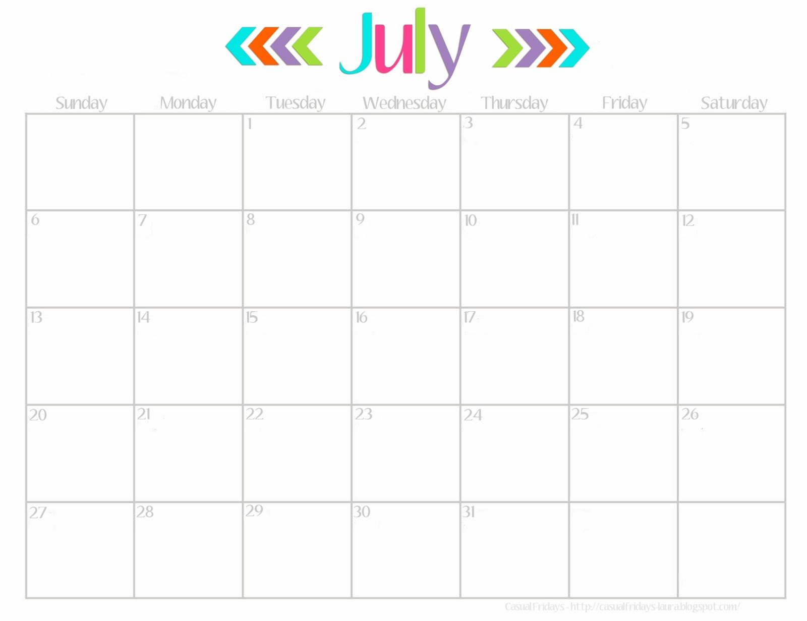 Blank July 2018 Calendar, cute calendar template Lovely Cute July 2018 Calendar