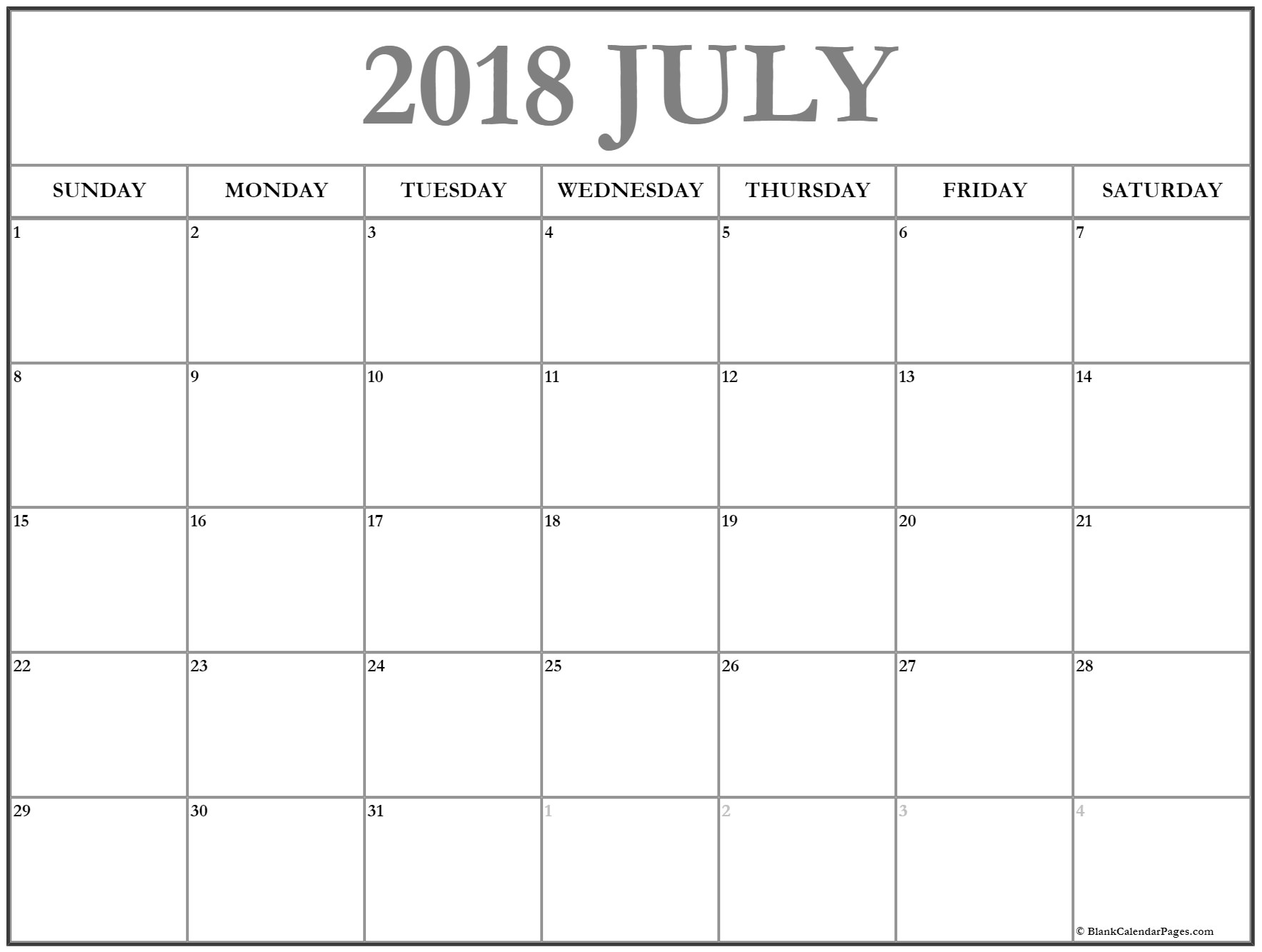 Blank July 2018 Printable Calendar With Notes