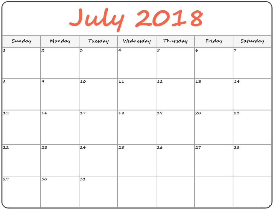 Blank Templates July 2018 Organizer