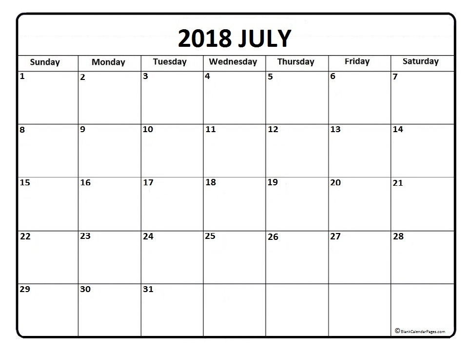 Calendar 2018 for July Word